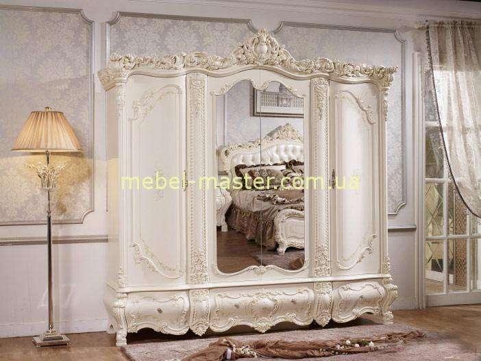 Белый резной шкаф для спальни Венеция, Китай
