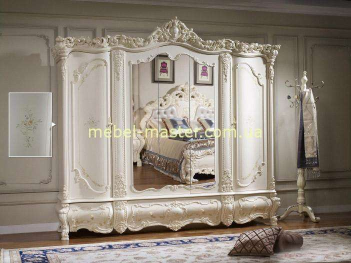 Белый шкаф для одежды в стиле барокко Венеция, Аккорд