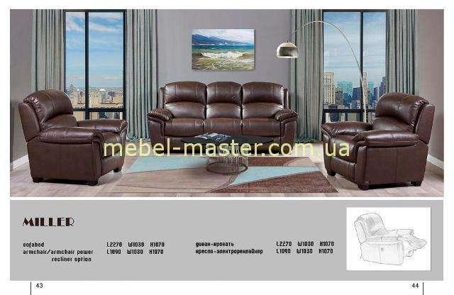 Коричневый диван Миллер в эко-коже, Аримакс