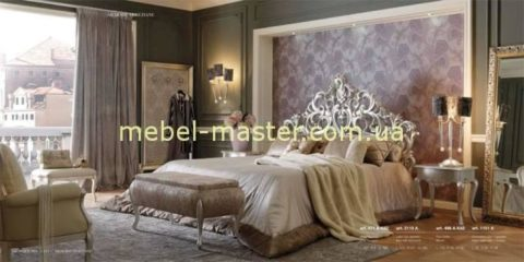 Кровать с деревянным резным изголовьем Ольга