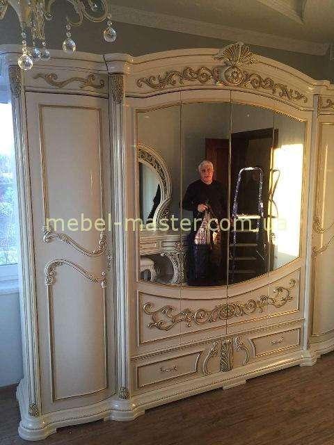Белый шестидверный шкаф для спальни Латифа, Слониммебель