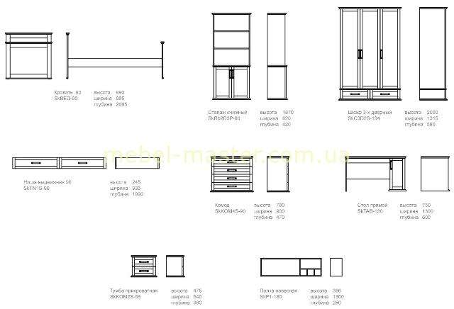 Схема мебели в детскую спальню для мальчика Skipper, Шкипер
