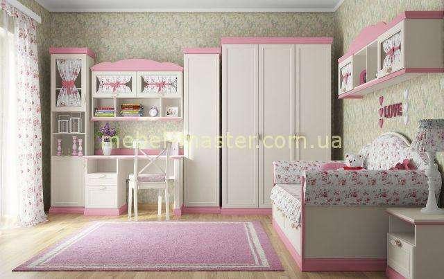 Розовый набор мебели для спальни Прованс