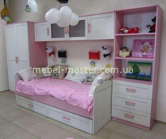 Розовый мебельный гарнитур в спальню для девочки Вояж, Аквародос