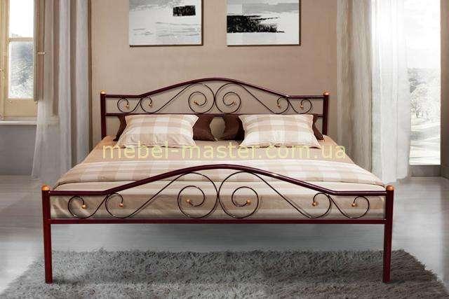 Бордовая кованая кровать на металлических ногах Респект Микс мебель