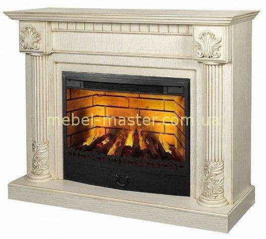 Белый камин с текстурой дерева, фирма Гилея