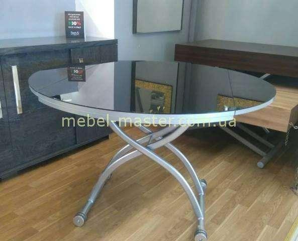 В-2252-6 Стол-трансформер с черной столешницей из стекла. Эксим мебель