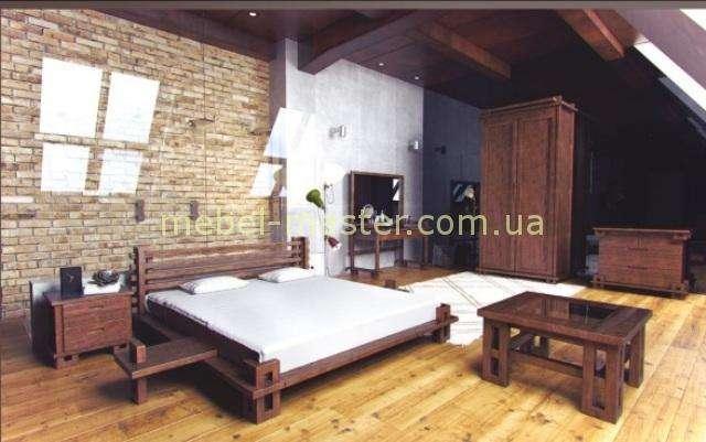 Спальня из массива натурального дерева в востоном японском стиле Сакура, от фабрики Совиньен