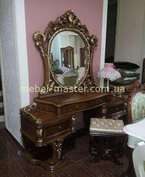 Декоративный классический резной стол туалетный в стиле барокко с золотой патиной в спальню 8868, Китай