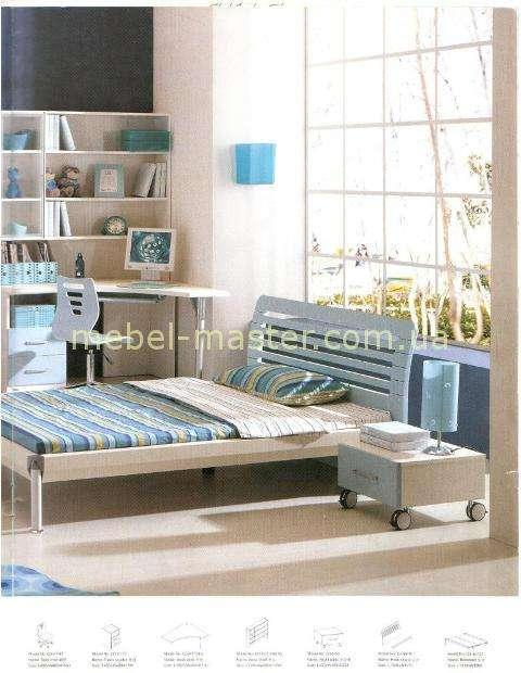 Кровать 120 с письменным столом в детскую в голубом цвете