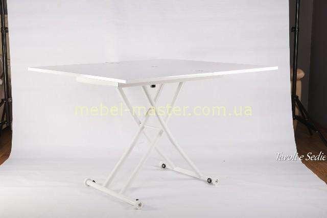 Стол трансформер на металлических ногах с белой столешницей, Китай