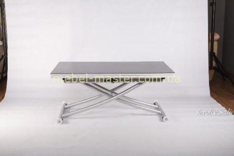 Недорогой стол трансформер из белой МДФ и черного стекла B2219-SP-9