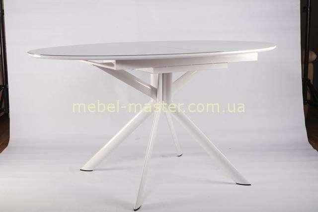 Круглый белый стол на фигурных ногах B2400. Столешница со стеклом.