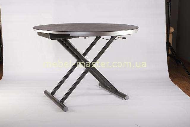B2433 круглый стол со стеклом на металлических ногах