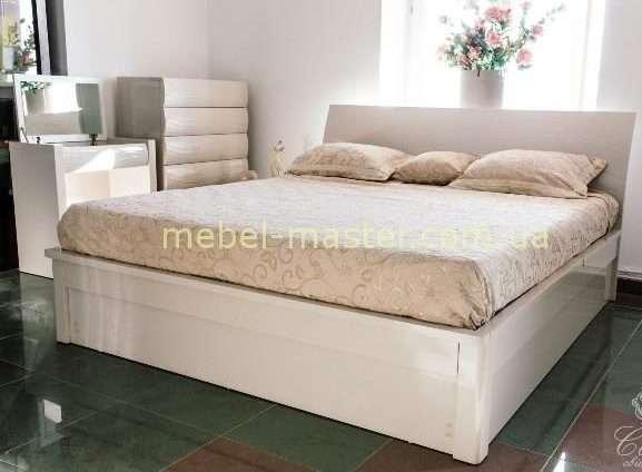 Бежевая глянцевая кровать Тиффани с подъемным механизмом, София