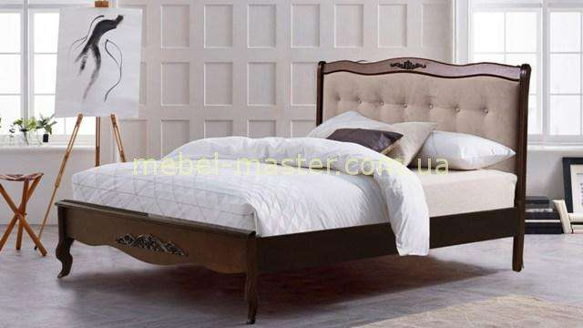 Коричневая кровать Лаура из натурального дерева Евродом