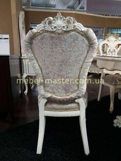 Белый обеденный резной мягкий стул 8818 . Энигма