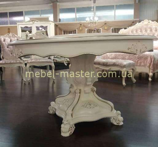 Резная нога стола Версаль. Белый стол с надстройкой.