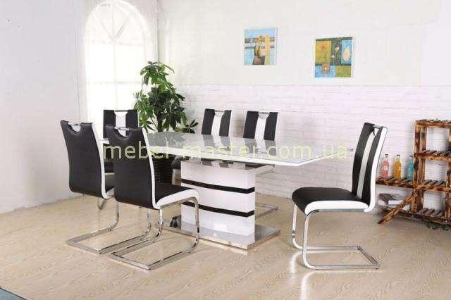 Белый обеденный стол с черным декором Филадельфия DT-9108, Евродом