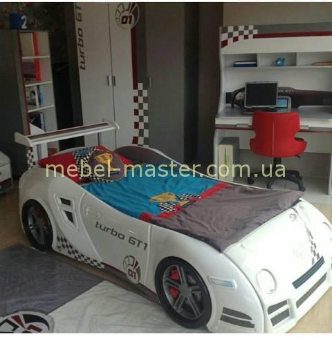 Детская кровать машинка в белом цвете, Турция