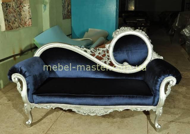 Синяя лежанка Жозефина в серебре