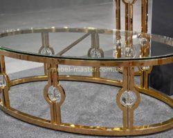 Декоративный журнальный столик в стиле Арт-Деко со стеклянной столешницей