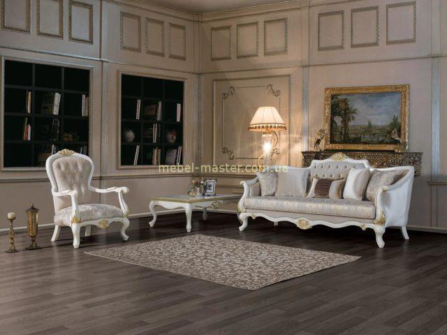 Комплект резной мягкой мебели для гостиной Мария