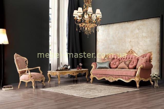 Классический диван Глория в каркасе из золота